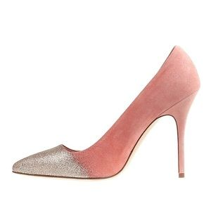 J Crew Collection Roxie Glitter Suede Pumps Heels